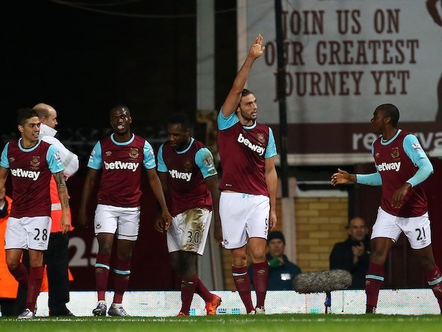 Big Andy Carroll celebrates scoring the winner for West Ham against Southampton on December 28, 2015