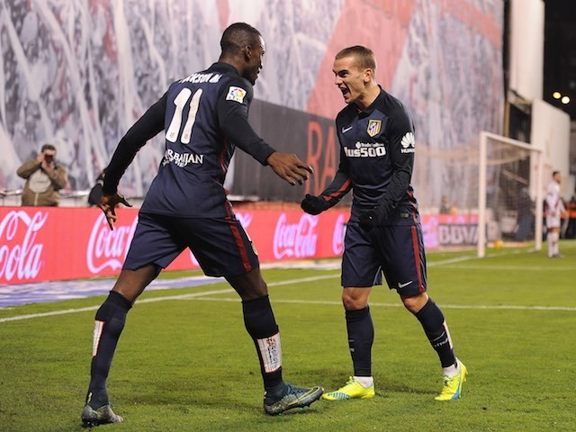 Antoine Greizmann and Jackson Martinez celebrate during the game between Rayo Vallecano and Atletico Madrid on December 30, 2015