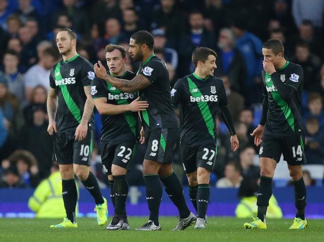Xherdan Shaqiri celebrates scoring Stoke's second against Everton on December 28, 2015