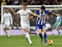 Toni Kroos and Luis Alberto in action during the game between Real Madrid and Deportivo La Coruna on January 9, 2016
