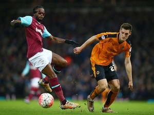 Michal Zyro and Alex Song in action during the FA Cup game between West Ham and Wolves on January 9, 2016