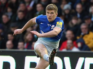 Owen Farrell and his crazy eyes in action during the game between Harlequins and Saracens on January 9, 2016