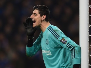 Thibaut Courtois shows off his impressive nasal side profile on December 14, 2015