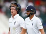 Ben Stokes and Joe Root walk off for tea on day two of the third Test between South Africa and England on January 15, 2016