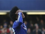 Willian reacts to a missed chance during the game between Chelsea and Everton on January 16, 2016