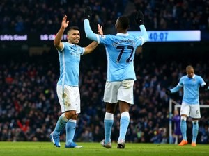 Sergio Aguero celebrates during the game between Man City and Crystal Palace on January 16, 2016