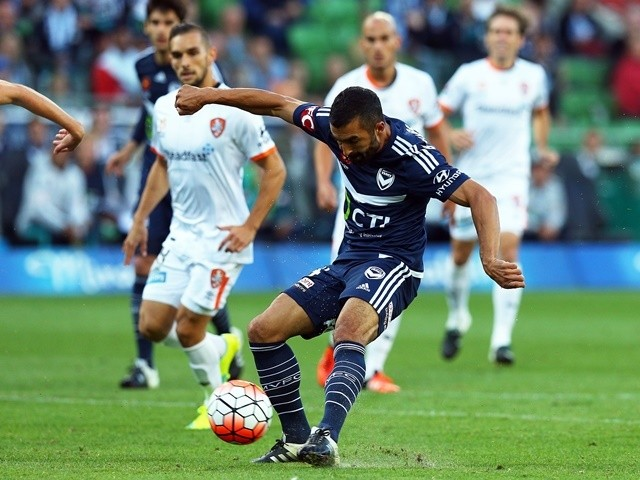 Fahid Ben Khalfallah of Melbourne Victory scores a goal against Brisbane Roar at AAMI Park on January 15, 2016