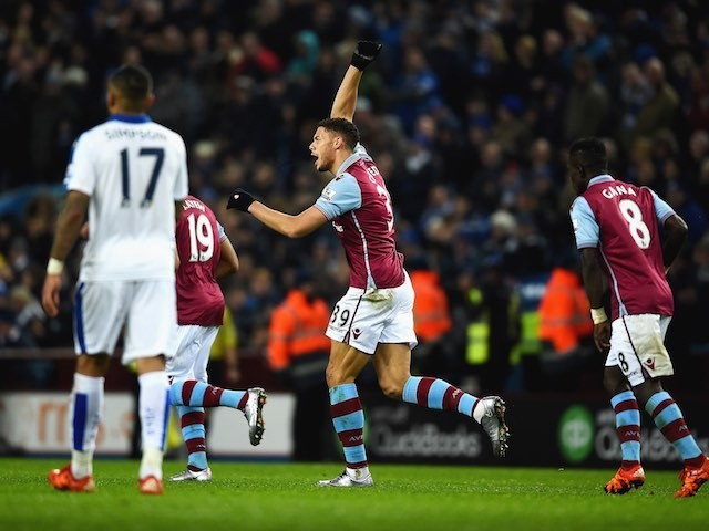 Rudy Gestede celebrates scoring during the game between Aston Villa and Leicester on January 16, 2016