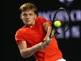 David Goffin in action against Dominic Theim during day five of the 2016 Australian Open at Melbourne Park on January 22, 2016