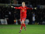 Jason Steele celebrates during the FA Cup game between Newport and Blackburn on January 18, 2016