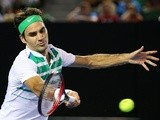 Roger Federer in action against Grigor Dimitrov during day five of the 2016 Australian Open at Melbourne Park on January 22, 2016