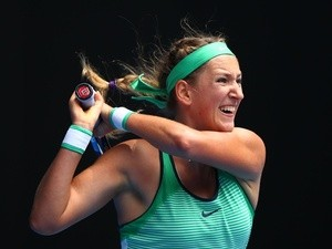 Victoria Azarenka in action against Danka Kovinic during day four of the 2016 Australian Open at Melbourne Park on January 21, 2016