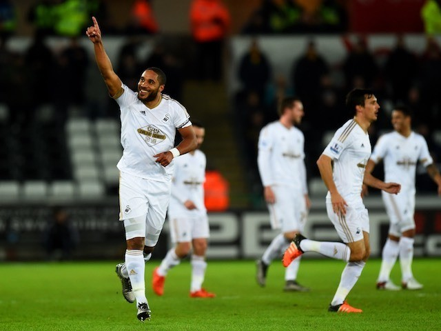 Ashley Williams celebrates scoring during the game between Swansea and Watford on January 18, 2016