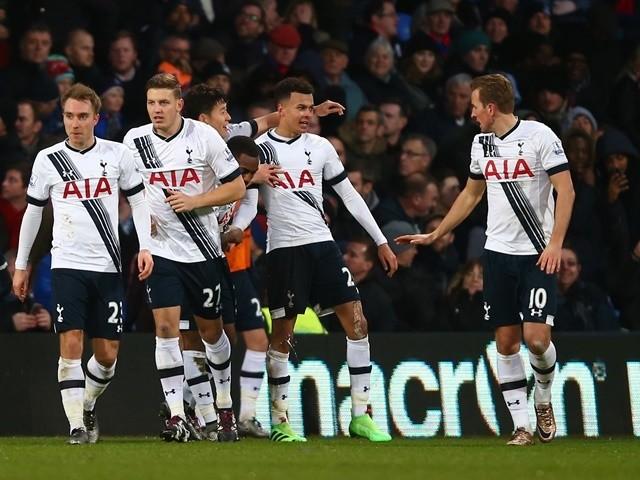 Dele Alli celebrates scoring Tottenham Hotspur's second goal against Crystal Palace on January 23, 2016