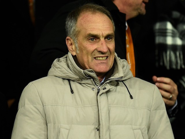 Francesco Guidolin watches from the stands during the game between Swansea and Watford on January 18, 2016