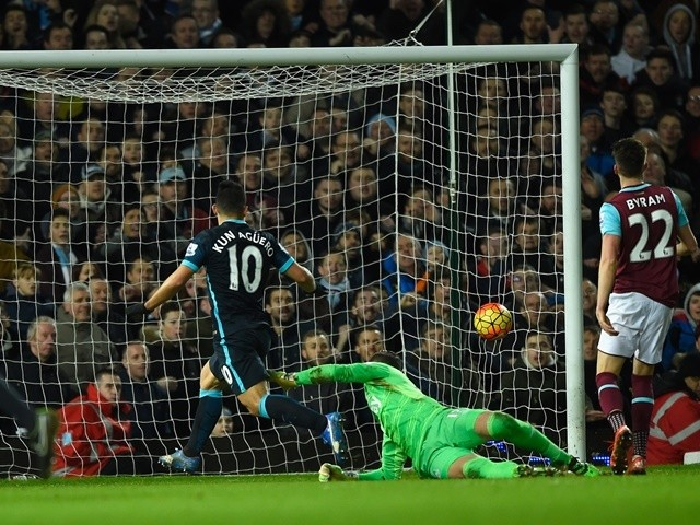 Sergio Aguero scores Manchester City's second goal against West Ham United and Manchester City at the Boleyn Ground on January 23, 2016