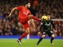 Emre Can and Bojan Krkic in action during the League Cup match between Liverpool and Stoke City on January 26, 201