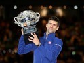 Novak Djokovic celebrates winning the Australian Open on January 31, 2016