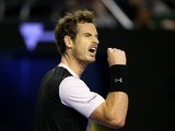 Andy Murray celebrates during the Australian Open semi-final with Milos Raonic on January 29, 2016