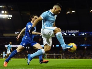 Sergio Aguero and Leighton Baines in action during the League Cup game between Manchester City and Everton on January 27, 2016