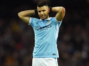 Sergio Aguero in action during the League Cup game between Manchester City and Everton on January 27, 2016