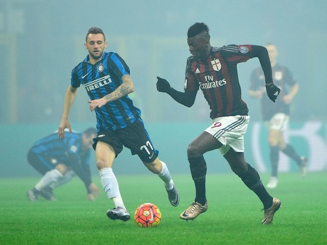 Mbaye Niang and Marcelo Brozovic in action during the Serie A game between AC Milan and Inter Milan on January 31, 2016