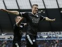 Robert Huth celebrates his second during the Premier League game between Manchester City and Leicester City on February 6, 2016