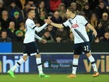 Dele Alli celebrates his goal with Kevin Wimmer during the Premier League game between Norwich and Spurs on February 2, 2016
