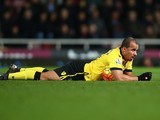 Gabriel Agbonlahor has had enough during the Premier League game between West Ham and Aston Villa on February 2, 2016