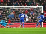 Romelu Lukaku converts the penalty to score Everton's first goal against Stoke City on February 6, 2016