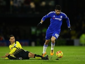 Diego Costa cares not for Jose Holebas during the Premier League game between Watford and Chelsea on February 3, 2016