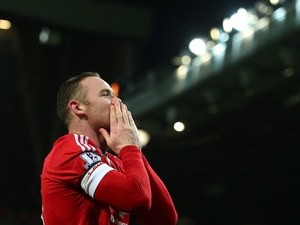 Wayne Rooney celebrates scoring during the Premier League game between Manchester United and Stoke on February 2, 2016