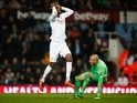 Christian Benteke reacts as he is foiled by a tiny Darren Randolph during the FA Cup fourth-round replay between West Ham United and Liverpool  on February 9, 2016