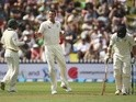 Josh Hazlewood of Australia appeals for the wicket of Tom Latham of New Zealand on February 12, 2016