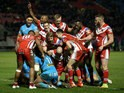 Salford Red Devils go over for a try during their 44-10 victory over St Helens in Super League on February 11, 2016
