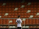 Fran Villalba is pictured looking at an invisible crowd during the Copa del Rey semi between Valencia and Barcelona on February 10, 2016