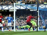 Salomon Rondon scores the opener during the Premier League game between Everton and West Bromwich Albion on February 13, 2016