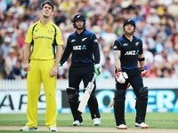 Brendon McCullum looks on as he is caught, dismissed by Mitchell Marsh during the third ODI between the New Zealand Black Caps and Australia on February 8, 2016