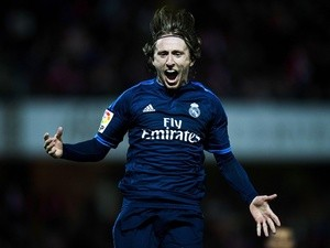 Luka Modric celebrates scoring during the La Liga match between Granada  and Real Madrid on February 7, 2016