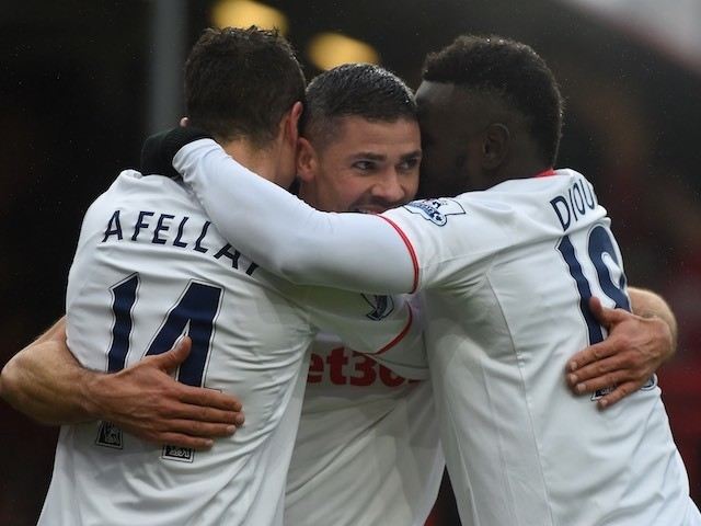 Ibrahim Afellay celebrates with teammates during the Premier League game between Bournemouth and Stoke City on February 13, 2016