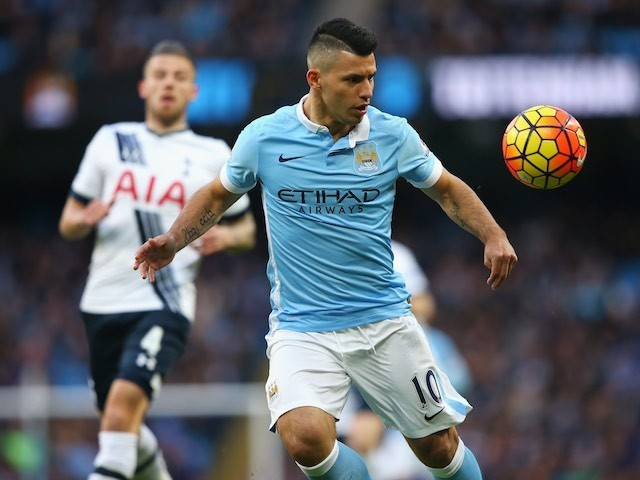 Sergio Aguero in action during the Premier League game between Manchester City and Tottenham Hotspur on February 14, 2016