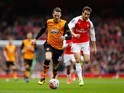 Nick Powell and Mathieu Flamini in action during the FA Cup game between Arsenal and Hull City on February 20, 2016