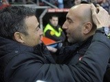 Managers Luis Enrique and Abelardo before the La Liga match between Sporting Gijon and Barcelona on February 17, 2016