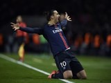 Zlatan Ibrahimovic celebrates scoring during the Champions League encounter between Paris Saint-Germain and Chelsea on February 16, 2016