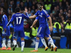 Diego Costa and Pedro celebrate during the FA Cup game between Chelsea and Manchester City on February 20, 2016