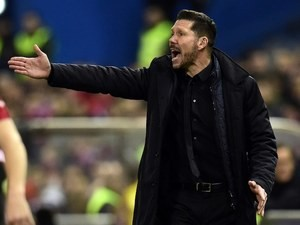 Diego Simeone bellows during the La Liga game between Atletico Madrid and Villarreal on February 20, 2016