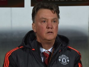 Disgruntled ferret Louis van Gaal looks on during the Europa League game between FC Midtjylland and Manchester United on February 18, 2016