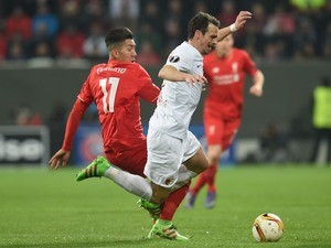 Roberto Firmino and Markus Feulner during the Europa League game between Augsburg and Liverpool on February 18, 2016