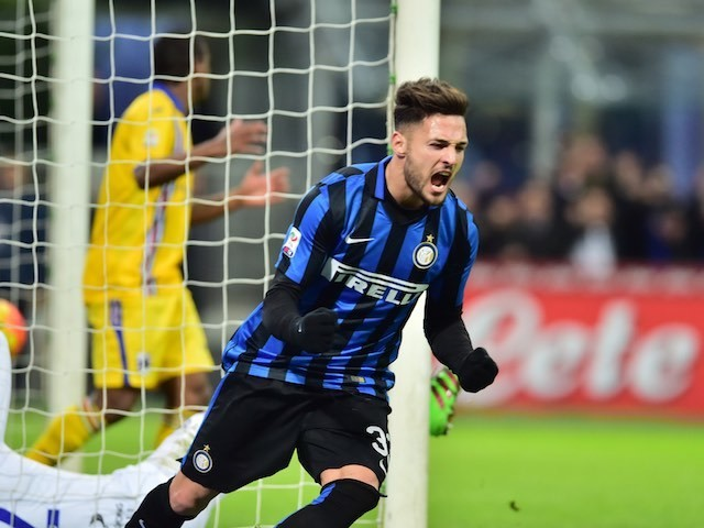 Danilo D'Ambrosio celebrates scoring during the Serie A game between Inter and Sampdoria on February 20, 2016