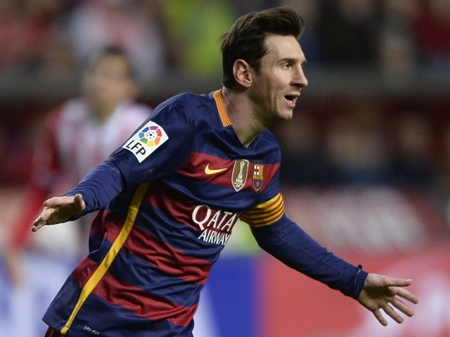 Barcelona's Lionel Messi celebrates after scoring a goal during the La Liga match against Sporting Gijon on February 17, 2016